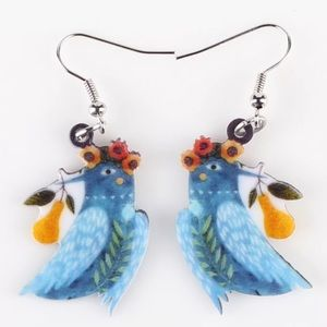 Partridge and a Pear Acrylic Earrings